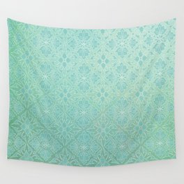 Green Watercolor Tile Wall Tapestry
