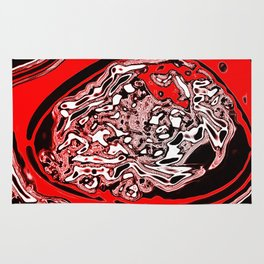 Red Black White Abstract Rug