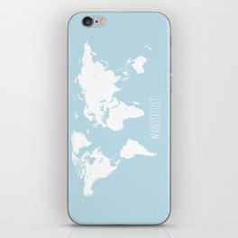 World Map - Wanderlust Quote - Modern Travel Map in Light Blue With White Countries iPhone Skin