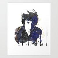 bob dylan Art Prints featuring bob dylan by manish mansinh