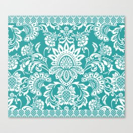 Damask in emerald Canvas Print