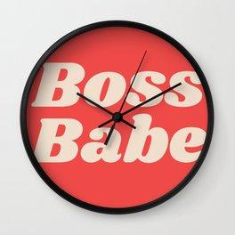 Retro Boss Babe - Coral Wall Clock