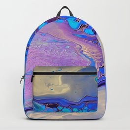 Slow Down Purple - Ultra Violet and Blue Fluid Pour Painting Abstract Backpack
