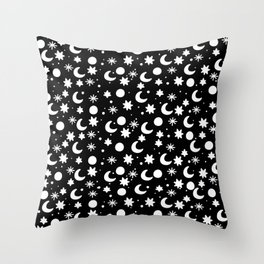 Cosmis space in black Throw Pillow