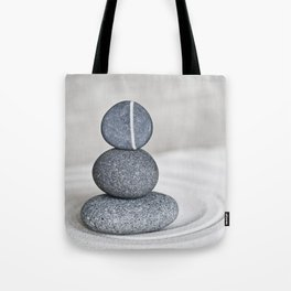 Zen cairn pebble stone balance grey Tote Bag