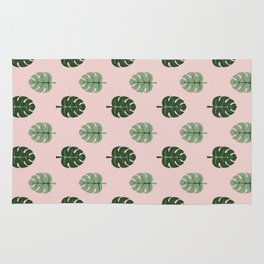 Tropical leaves Monstera deliciosa green and pink #monstera #tropical #leaves #floral #homedecor Rug