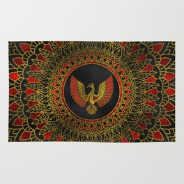 Gold and red Decorated Phoenix bird symbol Rug