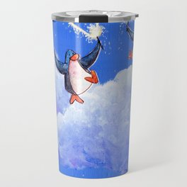 penguins spread love with sparklers Travel Mug