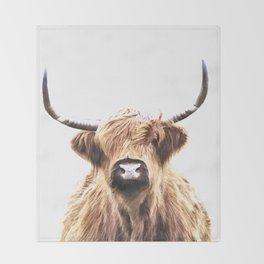 Highland Cow Portrait Throw Blanket
