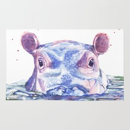Happy Hippo Watercolor Painting Rug