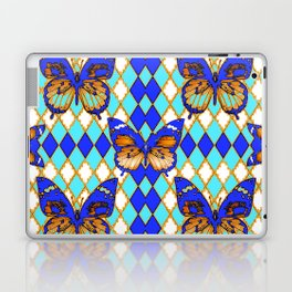 ARGYLE ABSTRACTED  BROWN SPICE  MONARCHS BUTTERFLY & BLUE-WHITE Laptop & iPad Skin