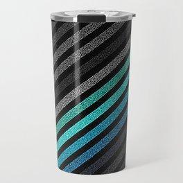 stripeS : Slate Gray Teal Blue Pixels Travel Mug