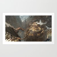 smaug Art Prints featuring Smaug by Hugh Ebdy