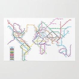 World Metro Subway Map Rug