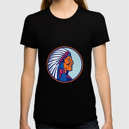 Cheyenne Chief Head Mascot T-shirt
