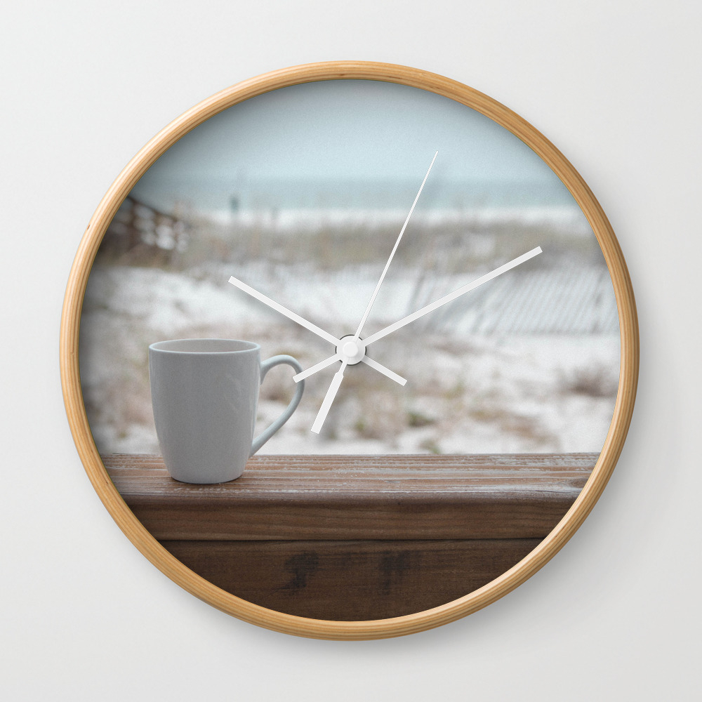 Cuppa At The Beach Wall Clock by Jojo26 CLK9074305