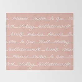 Feminist Book Author Surname Hand Written Calligraphy Lettering Pattern - Pink Throw Blanket