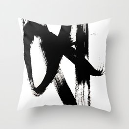 Brushstroke 2 - simple black and white Throw Pillow