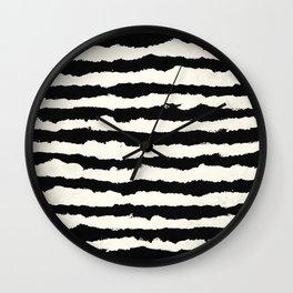 Tribal Stripes Black on Cream Wall Clock