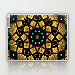 Bright Yellow Mosaic Symmetry Mandala Laptop & iPad Skin