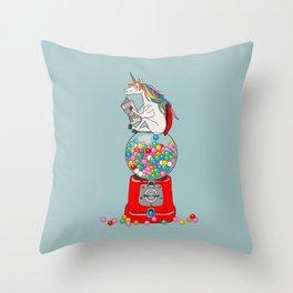 Unicorn Gumball Poop Throw Pillow