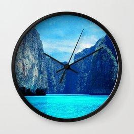 Blue Circle Landscape Print, Minimalist, Modern, Large, Tropical, Water, Ocean, Lake Wall Clock