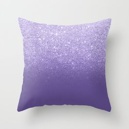 Modern ultra violet faux glitter ombre purple color block Throw Pillow