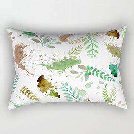 Green Leaves, Paint Splatter, Pattern Rectangular Pillow