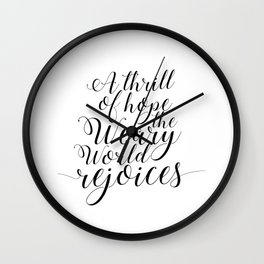 Quote calligraphy Christmas Decoration wall art print Christmas art holiday print Christian Christma Wall Clock