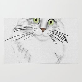 Green Eyed Greedy Cat Rug