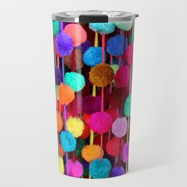 Rainbow Pom-poms (Horizontal) Travel Mug