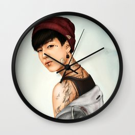 Tattooed Bambam (GOT7) - digital art Wall Clock