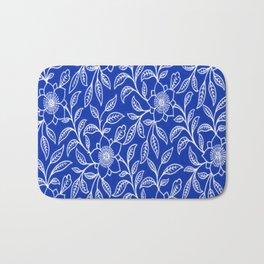 Vintage Lace Floral Sapphire Blue Bath Mat