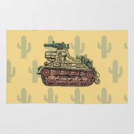 African desert corps tank WWII Rug