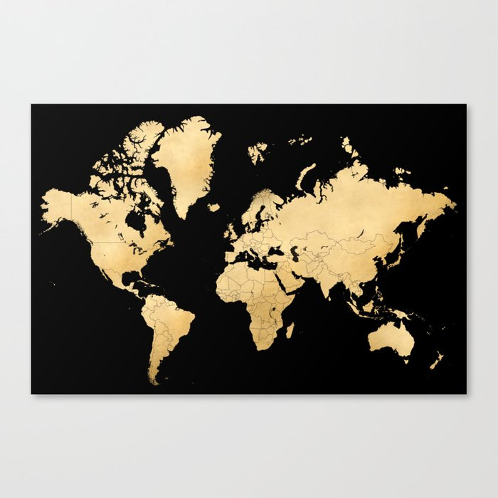 Sleek Black And Gold World Map Canvas Print By Blursbyaishop Society - Black and gold world map