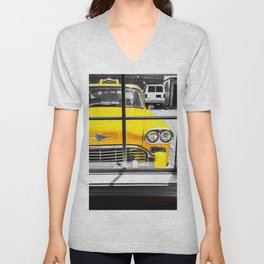vintage yellow taxi car with black and white background Unisex V-Neck