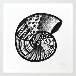 AMMONITE FOSSIL BY LEONIE FLIN Art Print