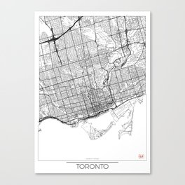 Toronto Map White Canvas Print