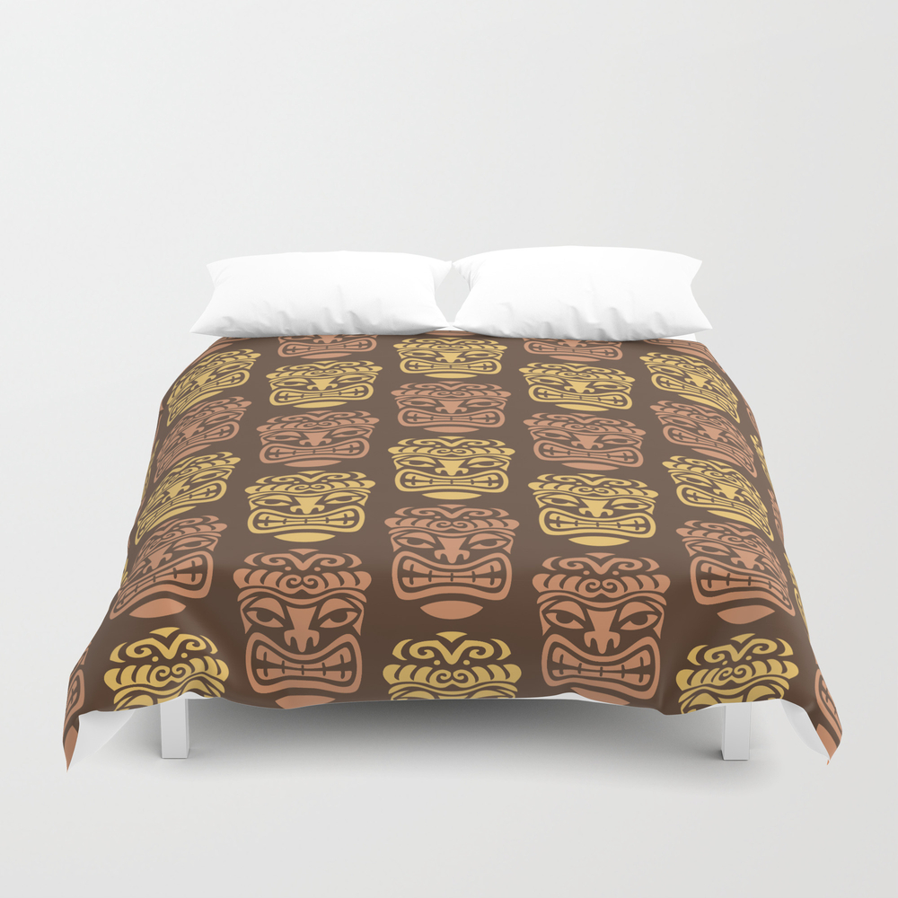 Tiki Pattern Brown Yellow Duvet Cover by Tonymagner DUV9056556