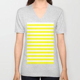 Narrow Horizontal Stripes - White and Yellow Unisex V-Neck