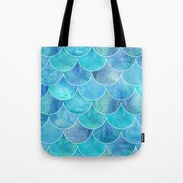 Turquoise Blue Watercolor Mermaid Tote Bag