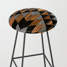 Urban Tribal Pattern No.10 - Aztec - Concrete and Wood Bar Stool
