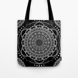 Black and White Geometric Mandala Tote Bag