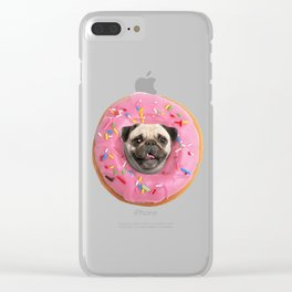 Pug Strawberry Donut Clear iPhone Case