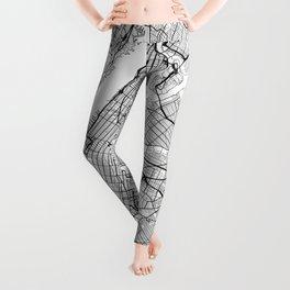 New York City Neutral Map Art Print Leggings