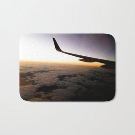 Airplane Wing Window Seat View of Horizon at Dusk Bath Mat