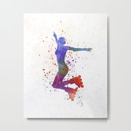 Woman in roller skates 05 in watercolor Metal Print