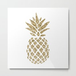Gold Glitter Pineapple Metal Print