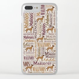 Belgian Malinois Dog Word Art pattern Clear iPhone Case