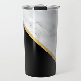 Marble, Black, White, Gold, Abstract Color Block Travel Mug